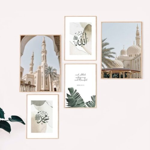 Set-of-5-Islamic-boho-abstract-prints-jimhaart