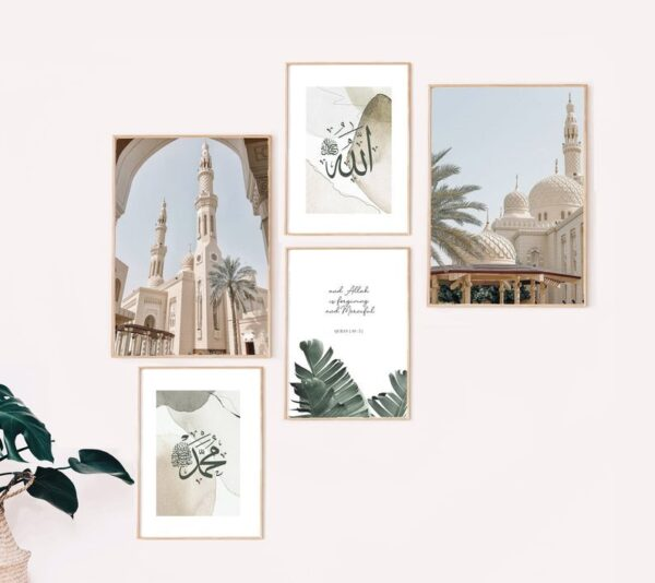 Set-of-5-Islamic-boho-abstract-prints-jimhaart